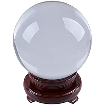 LONGWIN 180mm (7 inch) Huge Divination Crystal Ball Glass Sphere Free Wooden Stand