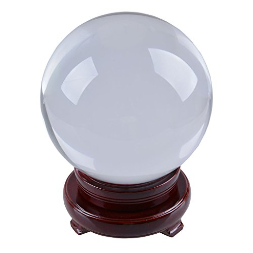 LONGWIN 150mm (5.9 inch) Divination Crystal Ball Glass Globe Sphere Free Wooden ()