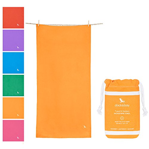 Dock & Bay Microfibre Towel - Travel & Outdoors (Orange - Small 40x20) - fast dry, compact & portable Con Compact
