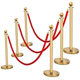 Mefeir 6pcs Queue Pole Barrier Crowd Control Barrier Security Fence Stainless Steel Ball Top Retractable Belt Stanchion Posts/6.5 Feet Red Velvet Rope VIP (6PCS, Gold)