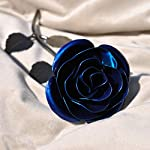 Personalized-Gift-Hand-Forged-Wrought-Iron-Blue-Metal-Rose-Valentines-Day-Gift