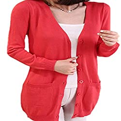 High End Wool Sweater Medium Long Cashmere Cardigan Women Loose Sweater Outerwear Coat With Pockets X Large Watermelonred