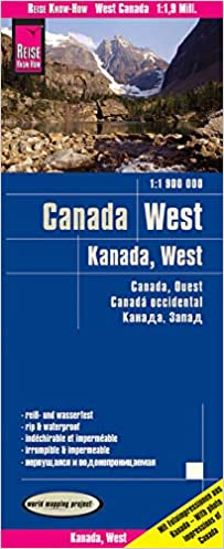 Canadá oeste, mapa impermeable de carreteras. Escala 1:1.900 ...