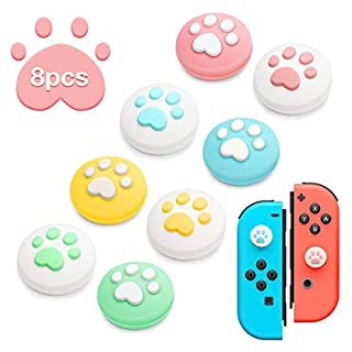 Thumb Grip Caps 4 Pairs (8pcs) Cat Claw Design, Joystick Cap Soft Silicone Cover for Nintendo Switch & Lite Joy-Con Controller ThumbStick