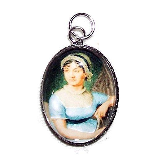 JANE AUSTEN Charm Pendant Silver Pltd GLASS Covered PORTRAIT