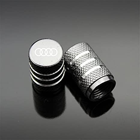 Black Qingtech 4pcs Aluminium Tyre Valve Caps for Audi Auto Car