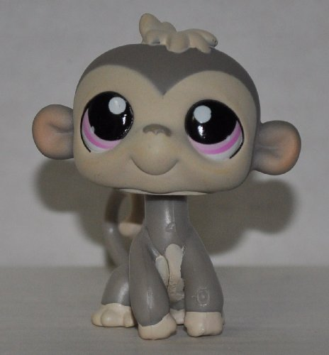 Monkey #1029 (Grey, Purple Eyes) - Littlest Pet Shop (Retired) Collector Toy - LPS Collectible Replacement Figure - Loose (OOP Out of Package & Print) (Monkey Eyes Big)