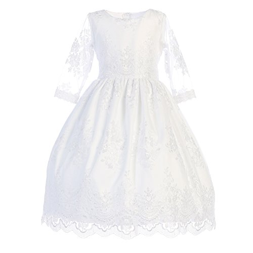Lito Big Girls White Embroidered Tulle Tea Length Communion Dress 7 by Lito