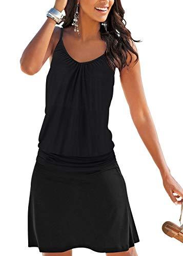 Jusfitsu Women's Summer Casual Dress Strappy Cotton Midi Beach Dresses Print Flare Beachwear Stretchy Black 2XL