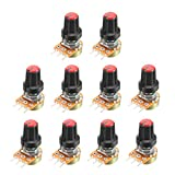 uxcell 10Pcs 20K Ohm Variable Resistors Single Turn Rotary Carbon Film Taper Potentiometer with Knob