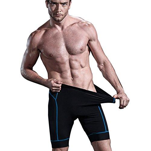 ALLY 3D Profesional Hombres Moldeado Acolchado Anti-Bac Ciclismo Culottes con Aire de Alta Permeabilidad - M/L/XL/XXL/XXXL opcional (Negro/Azul, M 30-32)