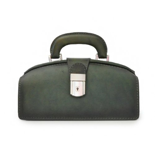 Pratesi Womens Italian Leather Handbag Lady Brunelleschi Bruce in Cow Leather in Dark Green