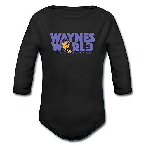 ATHLETE ORIGINALS Long Sleeve Baby Boys' Bodysuit by Trae Waynes Waynes World by Trae Waynes in Blue & White & Yellow (Digital Print) 6 months Black