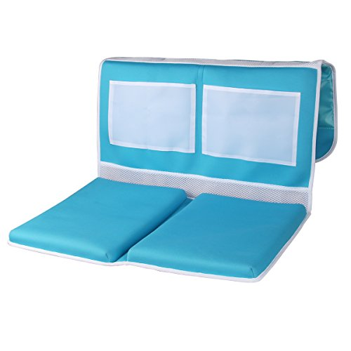 Baby Bath Bath Kneeler - Bathtub Kneeling Pad - Deluxe Safety Baby Bath Mat with Two Mesh Storage Pocket - Bath Knee Mat and Elbow Rest - Child Bath Tub Padding for Parent - Blue