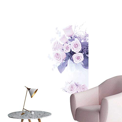SeptSonne Vinyl Wall Stickers Pink Roses Bouquet Border Composition Isolate on White Background Perfectly Decorated,20
