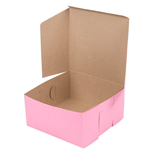 Pink Donut Box 10x10x5 inch - 10 Pack - Eco-Friendly Paperboard Bakery Take Out Gift Boxes for Pastries, Cookies, Cupcakes, and more (10, 10x10x5) by California Containers