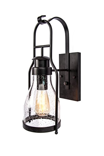 Rustic wall light Lantern with retro industrial loft lantern look in rubbed bronze powder coat finish with wine bottle pioneer jug glass (Bronze Rubbed Hanger Outdoor)