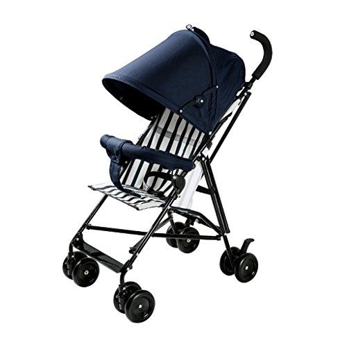 Cochecitos de bebé ligero paraguas plegable portátil niños cochecito (azul oscuro) 70 * 40 * 91 cm