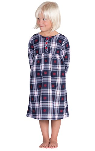 PajamaGram Classic Snowfall Plaid Cotton Flannel Nightgown, Blue, 5T (Toddler Flannel Nightgown)