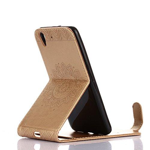 Funda Huawei Y6 II, 5.0 pulgadas, Cáscara Alfort 2 en 1 Caso Protector de Cuero Retro Moda PU Repujado Datura Cover con Soporte Plegable y Ranura de Tarjeta + Toque Pluma ( Azul ) Oro