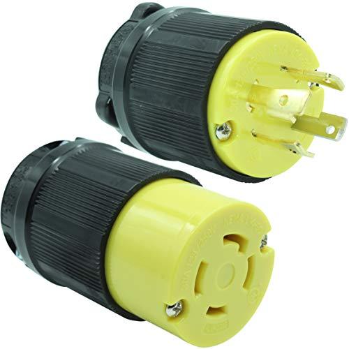 Journeyman-Pro 30 Amp, Plug & Connector Set, NEMA L14-30R & L14-30P, 125/250V, Locking Plug Socket, Black Industrial Grade, Grounding 7500 Watts Generators (L14-30PR PLUG SET)