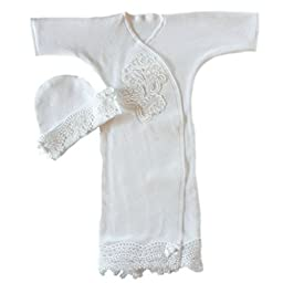 Jacqui\'s Baby Girls\' Beautiful White Lace Gown, Preemie