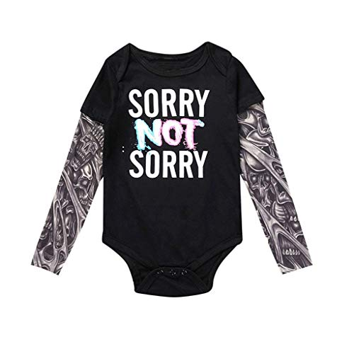 Mayunn Newborn Baby Boys Cotton Long Sleeve Tattoo Printed Patchwork Romper Autumn Bodysuit Clothes Outfits Set (3Months-24Months) (Mens Printed City Belt)