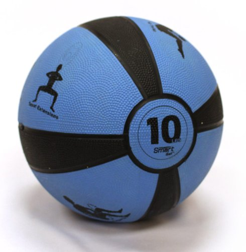 Prism Fitness 10lb Smart Self-Guided Medicine Ball - Rubber Medicine Ball Helps Develop Core Strength, Balance and Coordination, Features 8 Exercises Printed on Ball for Easy Reference, Blue