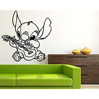 Stitch Plays The Guitar Wall Art Walt Disney Vinyl Sticker Lilo & Stitch Wall Vinyl Decal Decor for Home Baby Chids Kids Room CSas1: Home & Kitchen