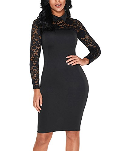 Sidefeel Women High Neck Lace Long Sleeve Club Bodycon Dress X-Large Black