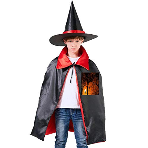 Cats in The Moonlight Halloween Shawl and Witch Hat for Children Kids Red]()