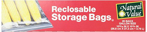 Natural Value Reclosable Food Storage Bags, Gallon Size, 20 Count