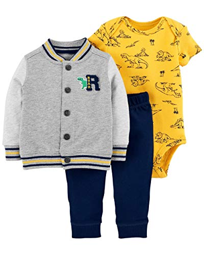 Carter's Baby Boys` 3-Piece Little Jacket Set (12 Months, Grey (Print Baby Rib)