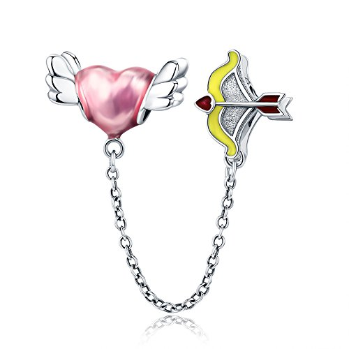 - Beauty Cupid Arrow Charm 925 Sterling Silver Arrow Through Heart Safety Chain Fit DIY Bracelet