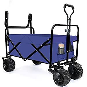 YONGFENG Folding Push Collapsible Wagon Cart Heavy Duty Sturdy Canvas Fabric with PU Wheel and Brake for Beach Sand Buggies Outdoor Garden Sport Picnic Shopping