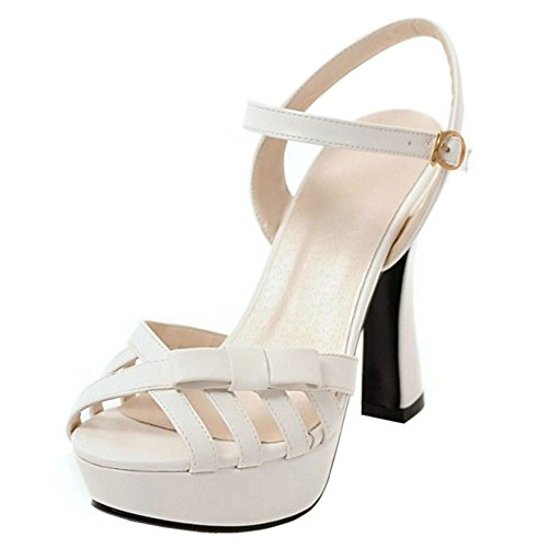 RAZAMAZA Mujer Moda Tacon Alto Correa de tobillo Sandalias Dulce Bowknot Peep Toe Zapatos Blanco