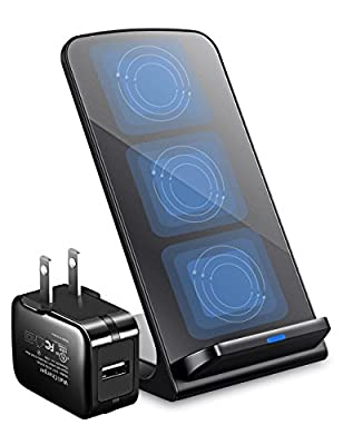iPhone X Wireless Charger, ELLESYE 3-Coil Qi Wireless Charger Stand [Upgraded with 2A Adapter] for iPhone X, iPhone 8/8 Plus, Samsung Galaxy S9/S9 Plus/Note8/S8/S8 Plus/S7 and All QI-Enabled Devices from ELLESYE