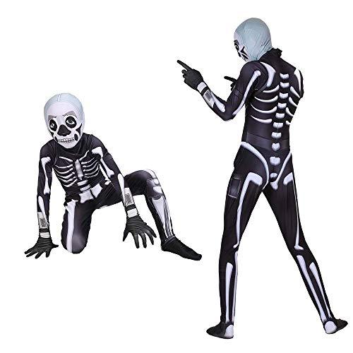 RXF Fortnite Skull Trooper Costume Halloween Man Spandex Zentai Bodysuit  Cosplay for Adult Halloween Dress Up (M, Kids)
