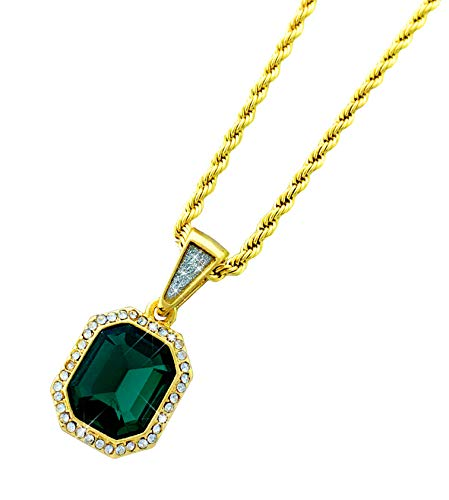 Exo Jewel Octagon Emerald Stone CZ Diamond Pendant Gold Necklace with 24