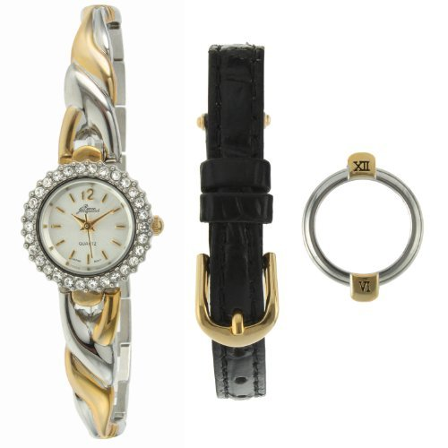 - Pierre Jacquard SB4 Women's Two-Tone Half Bangle Strap & Bezel Gift Set Watch