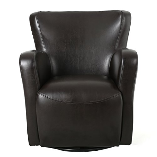 Almendro Brown Bonded Leather Wingback Swivel Club Chair