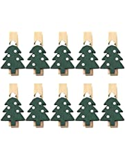 Supvox 25 stycken mini träklämmor handske älg julgran form trä klamrar dekorativa klämmor jul dekoration klammer foto klämmor för fotowand pyssel snacks grytor