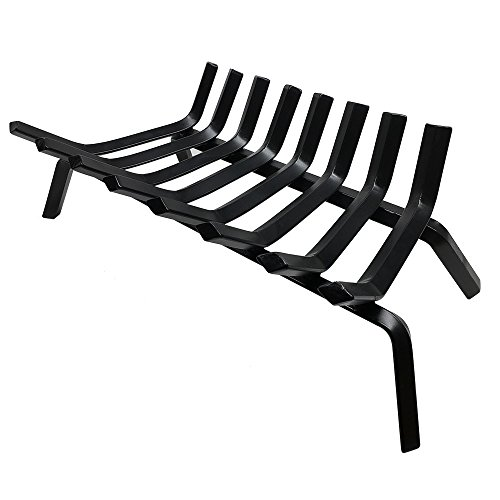 Buy Bargain Black Wrought Iron Fireplace Log Grate 24 inch Wide Heavy Duty Solid Steel Indoor Chimne...