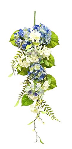 V-Max Floral Decor 36 inches Silk Hydrangea Teardrop Garland for Wedding Party Home Garden, Wedding Arch Garden Wall Decoration, Home Decoration - Blue