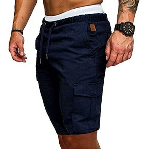 EQKWJ Heren Elegante militaire stijl elastische zomerbroek gevechtsbroek vintage blauw XXL