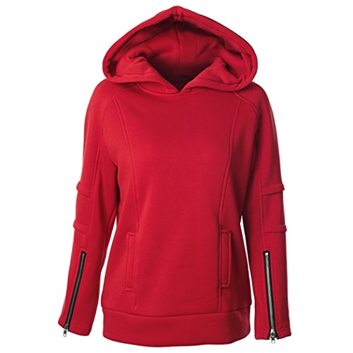 Feisen Women's Comfy Warm Hoodie Jackets Pullover Tops Blouse Hooded Casual Simple Sweatshirts Red XL