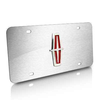 Lincoln Red 3d Logo Brushed Stainless Steel License Plate Au-Tomotive Gold AG-X-LIN-V-CS