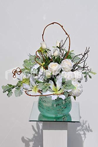 Silk Blooms Ltd 人工ホワイト牡丹と輝く花瓶 青いガラスの花瓶と本物のプリザーブドウッド B07H8GVLZQ