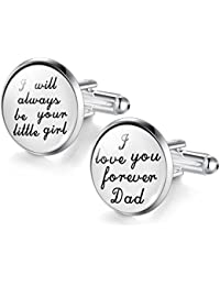 Jiayiqi Mens New Fashion Glass Time Gem Cufflinks Wedding Gift
