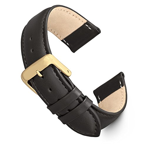 Speidel Genuine Leather Watch Band 18mm Black Calf Skin Replacement Strap, Stainless Steel Gold Tone Metal Buckle Clasp, Watchband Fits Most Watch Brands